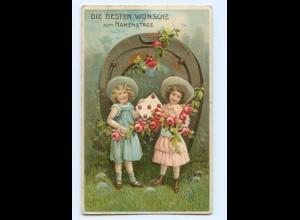 Y9075/ Namenstag Mädchen mit Rosen Hufeisen Litho Präge AK ca.1910