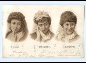 Y9077/ Verlobt Verheiratet Geschieden Litho Humor AK 1898