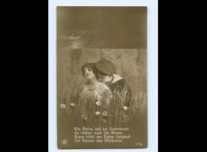 Y9232/ Marine-Soldat und Frau Foto AK ca.1914 Matrose