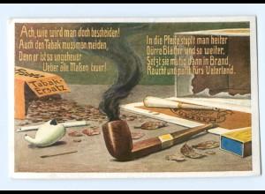 U2214/ Pfeife rauchen Tabak-Ersatz AK ca.1915 Streichholzschachtel