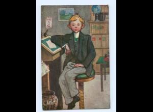 U2221/ Der Prokurist Büro Mann mit Federhalter Tintenfaß Schreiben AK 1917