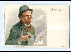 U2220/ Volks-Zeitung lesen Mann mit Zigarre Litho AK Rauchen