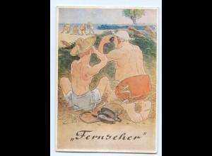 Y9202/ Männer beobachten Frauen mit Fernglas Humor AK Lengauer-Verlag