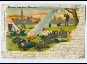 Y9375/ Gruß aus dem Biwak Militär Soldaten Litho AK Bürger & Ottillie 1904