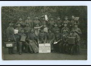 Y9354/ 5.Korporalschaft Soldaten mit Akkordeon 1. Weltkrieg Foto AK 1915