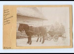 Y9431/ Kusmischki Rußland Panjewagen Soldaten 1. Weltkrieg Foto 1916