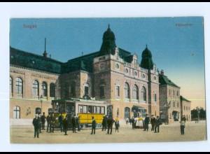 U2785/ Szeged Palyaudvar Bahnhof Straßenbahn AK Ungarn 1916