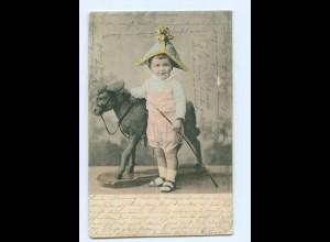 Y9597/ Kleiner Junge mit Holzpferd Spielzeug 1902