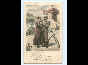 Y9592/ Paar trinkt Wein , Fahrrad AK 1901