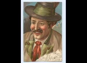 Y9663/ Trachten Bayern schöne Litho Ak Mann mit Hut 1901