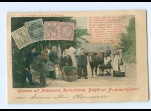 U2669/ Grenze Niderlande, Belgien, Deutschland Briefmarken AK 1903