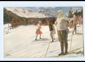 U2911/ Winter in St. Moritz Skifahren Tuck`s AK ca.1910
