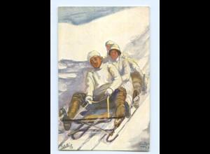 U2910/ Winter in St. Moritz Rodeln Schlitten Tuck`s AK ca.1910