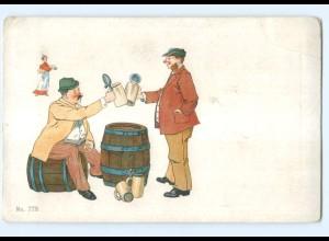 Y9651/ Männer trinken Bier Bierkrug Litho AK ca.1900