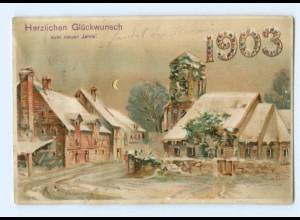 U2648/ Neujahr Jahreszahl 1903 Halt gegen Licht Litho Ak 1903