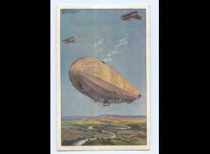 U2636/ Zeppelin Luftschiff Hansa im Kampf mmit feindl. Fliegern AK 1. Weltkrieg