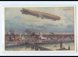 U2635/ Zeppelin Luftschiff Schütte-Lanz bombardiert Warschau AK 1. Weltkrieg