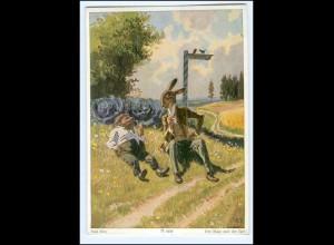 U3183/ Paul Hey Märchen AK Der Hase und der Igel ca.1955