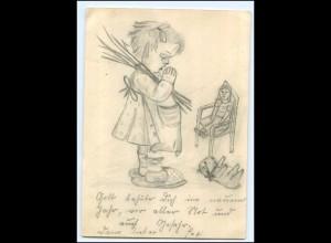 Y11776/ Handgemalte AK Hummel-Motiv Mädchen Puppe Teddy ca.1940