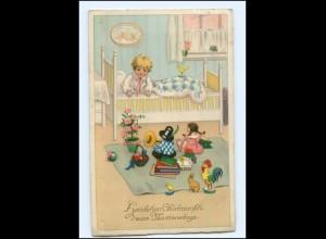 U3229/ Namenstag Kind und Puppen Spielzeug Meissner & Buch Litho AK