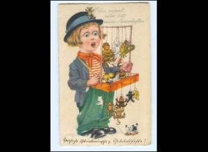 Y10153/ Junge mit Marionetten Tiere AK 1931 Puppen