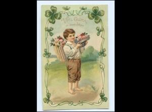 U3160/ Neujahr Junge mit Rosen schöne Litho Präge AK 1907