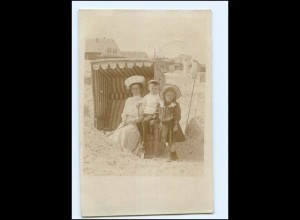 U3084/ Duhnen Cuxhaven Privat Foto AK Strandkorb 1910