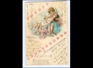 Y9817/ Amor schöne Gruß aus Litho AK 1901
