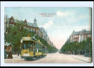 #008/ Hamburg Barmbeck Straßenbahn Mundsburgerdamm AK 1909
