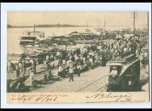 XX00556/ Ecuador Guayaquil - Mercado de frutas Pferdebahn Tram 1906
