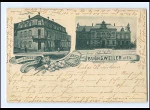 XX00412/ Gruß aus Buchsweiler im Elsaß Gymnasium, Hotel zur Sonne AK 1900