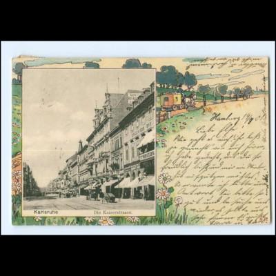 XX00418/ Karlsruhe Kaiserstr. Knackstedt & Näther Litho AK 1901