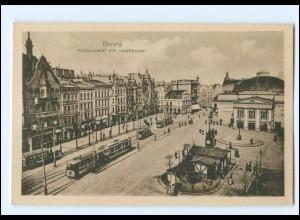 XX00222/ Danzig Kohlenmarkt Straßenbahn AK ca.1920