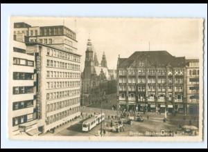 XX00217/ Breslau Blücherplatz Straßenbahn Foto AK 1941