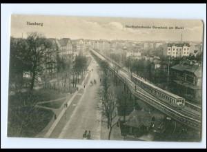 #079/ Hamburg Barmbeck Hochbahn am Markt AK ca.1910
