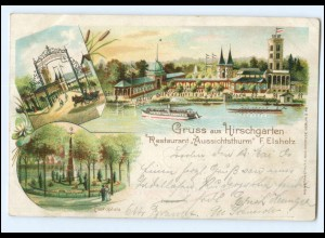 #047/ Berlin Gruß aus Hirschgartebn Litho AK 1901
