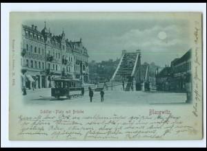 #046/ Dresden Blasewitz Straßenbahn Schiller-Platz Mondschein AK 1898