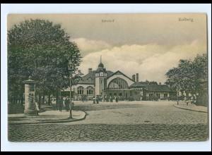XX01169/ Kolberg Bahnhof Pommern AK 1917