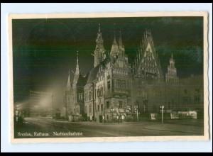 XX001502/ Breslau Rathaus Nachtaufnahme Foto AK Schlesien 1937