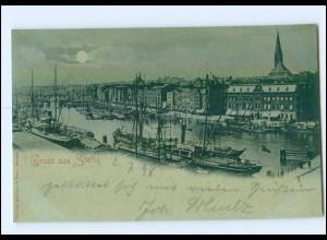 XX14720/ GRuß aus Stettin Mondschein AK 1898