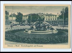 XX001873/ Schwerin Hindenburgplatz mit Brunnen ca.1940