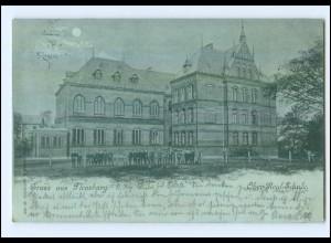 XX001391/ Flensburg Ober-Real-Schule Mondschein AK 1898