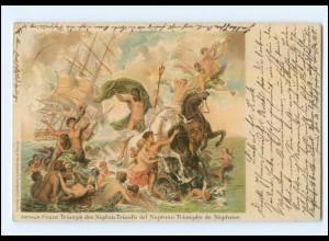 XX008848/ Arthur Fitger: Triumph des Neptun Litho AK 1903