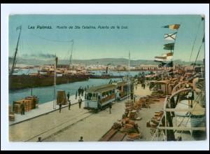 XX001233/ Las Palmas Puerto de la luz Straßenbahn AK ca.1912