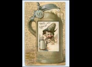 U3481/ Bier Bierkrug Humor Litho Prägedr. AK 1901