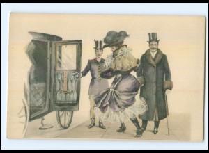 Y10996/ Künstler AK M.M.Vienne Kutsche, feine Dame, Mann mit Zylinder ca.1900
