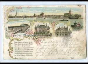 Y10099/ Rostock Gruß aus Litho Ak 1898