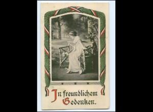 Y10098/ 1. Weltkrieg In freundlichen Gedenken, junge Frau 1915