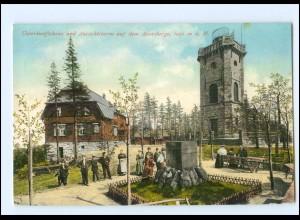 Y10109/ Unterkunftshaus + Aussichtsturm auf dem Auersberge AK 1910 + Bahnpost