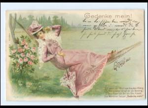 Y10031/ Frau liegt in der Hängematte schöne Litho Ak 1900